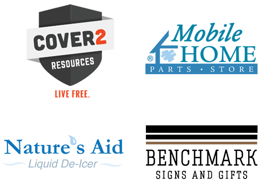 Cover2Resources Logo, Mobile Home Parts Store Logo, Nature's Aid Logo, and Benchmark Signs and Gifts Logo