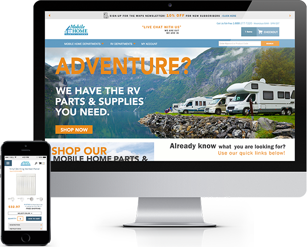 Mobile Home Parts Store: Mobile Website Redesign