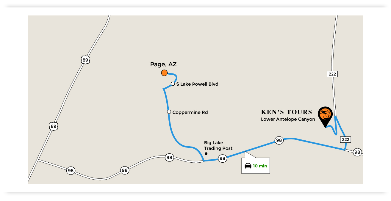 Map of Page,Arizona to Ken's Tours Lower Antelope