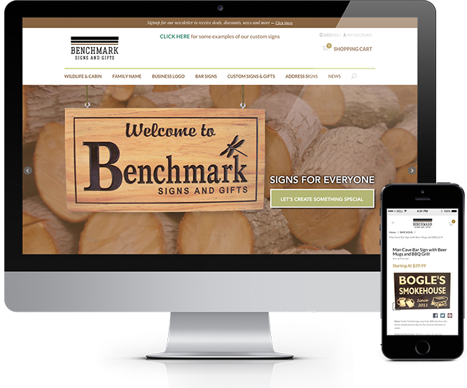 Benchmark Signs and Gifts Home Page mockup
