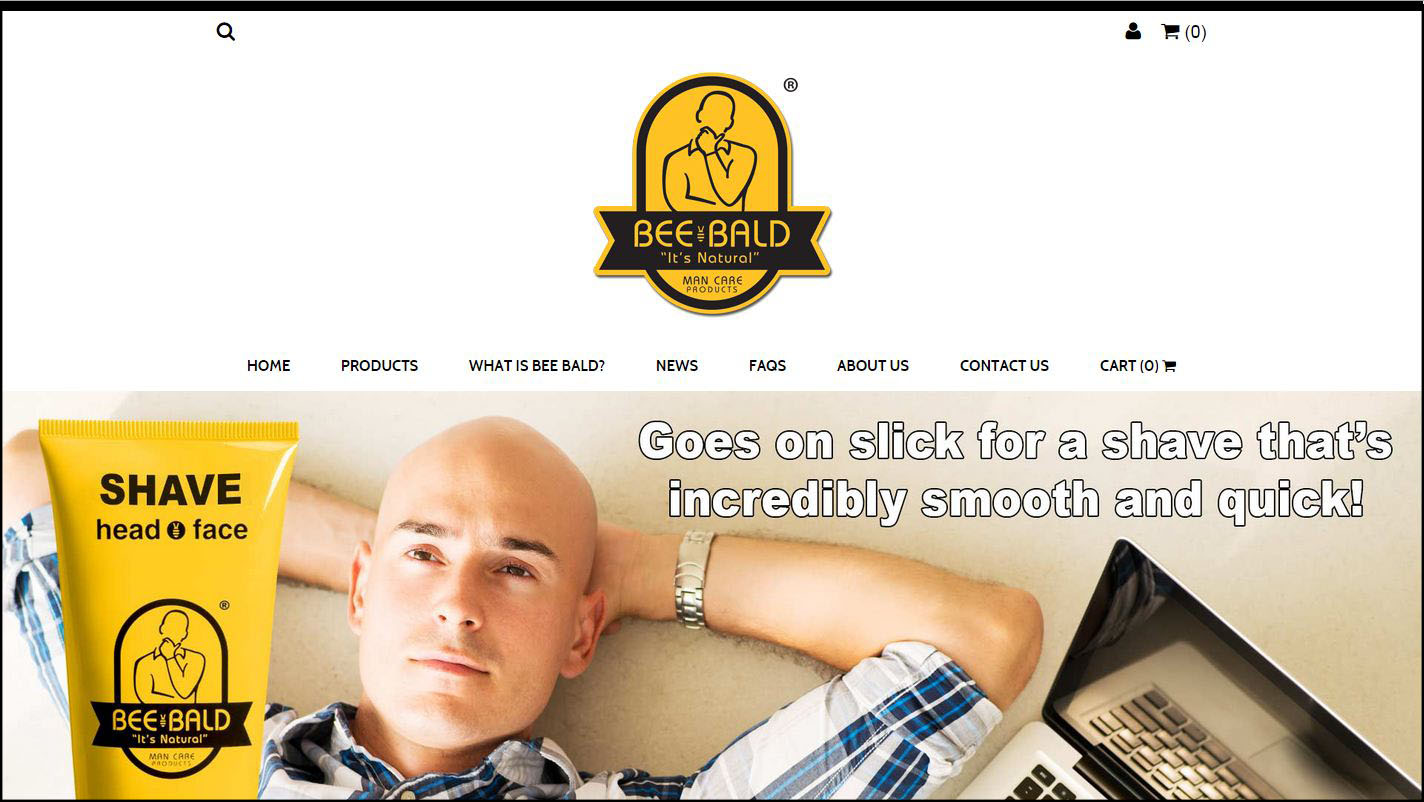 Home Page Of BeeBald.com Which Uses A Miva Retro Ready Theme.