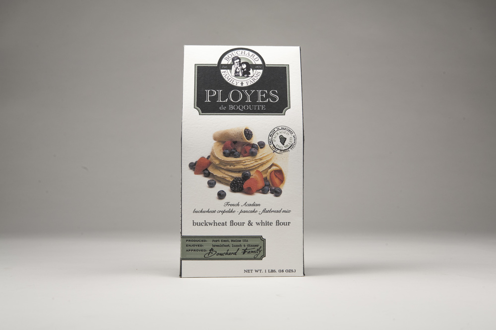 Shown: Bouchard Family Farms Ployes pancake mix packaging. Used by permission of Kelsy Stromski.