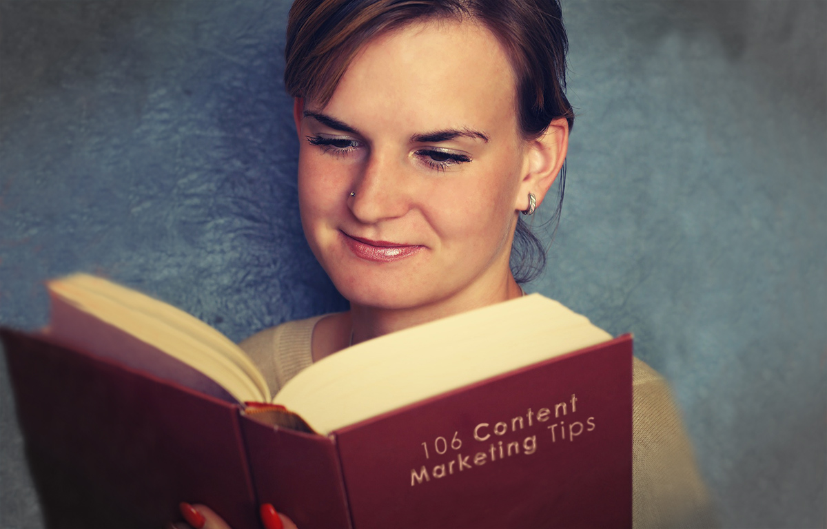 Woman Reading A Book Titled 106 Content Marketing Tips.