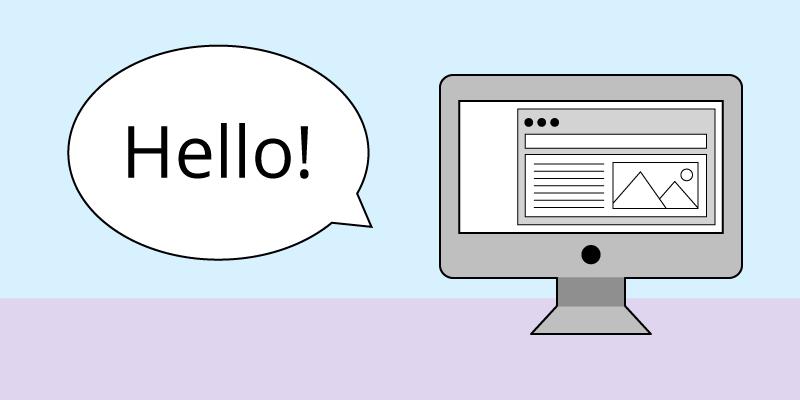 Computer Screen With A Hello Speech Bubble.