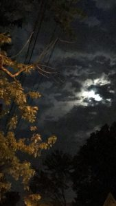 Overcast Night Sky With The Moon Shining Through Clouds.